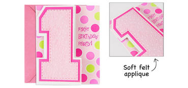 Premium Glitter One Today Girl 1st Birthday Invitations 8ct