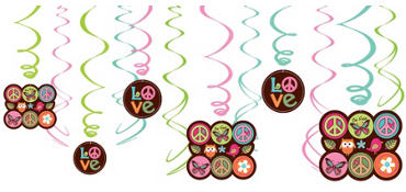 Hippie Chick Swirl Decorations 12ct