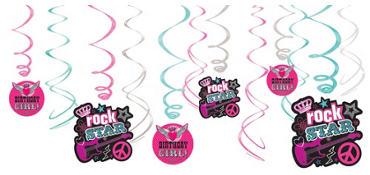 Rocker Girl Swirl Decorations 12ct