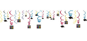 Colorful Graduation Swirl Decorations 50ct