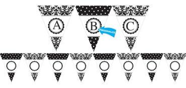 Damask & Polka Dot Personalize It Pennant Banner Kit 28pc