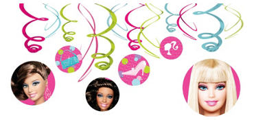 Dolled Up Barbie Swirl Decorations 12ct