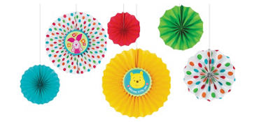 Winnie the Pooh Baby Shower Paper Fan Decorations 6ct