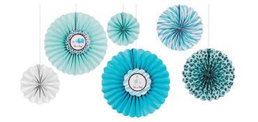 Blue Safari Baby Shower Paper Fan Decorations 6ct