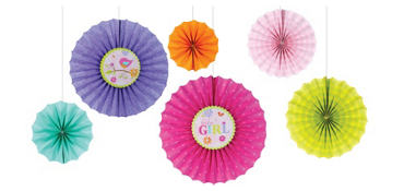 Tweet Baby Girl Paper Fan Decorations 6ct