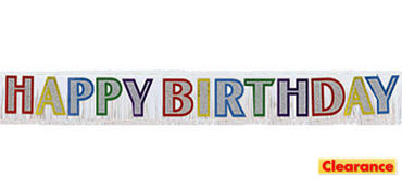 Primary Color Fringe Happy Birthday Banner