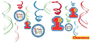 One-Derful Boy 1st Birthday Swirl Decorations 12ct