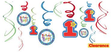 One-Derful Boy 1st Birthday Swirl Decorations 12ct
