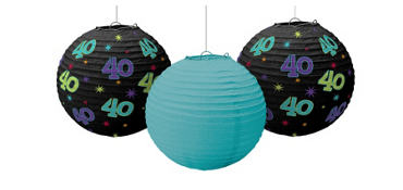 The Party Continues 40th Birthday Paper Lanterns 3ct