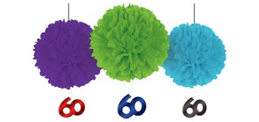 Deluxe The Party Continues 60th Birthday Fluffy Decorations 3ct