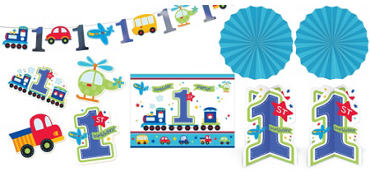 All Aboard 1st Birthday Room Decorating Kit 10pc