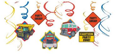 Tonka Truck Swirl Decorations 12ct