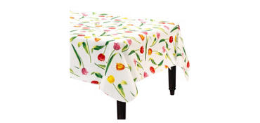 Spring Tulips Flannel-Backed Vinyl Tablecloth
