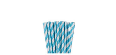 Caribbean Blue Striped Paper Straws 24ct