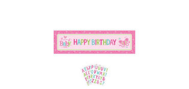 Girl Welcome Baby Giant Personalized Banner - Welcome Little One