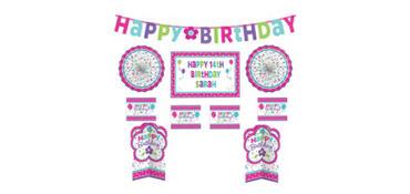Customizable Purple & Teal Pastel Birthday Room Decorating Kit