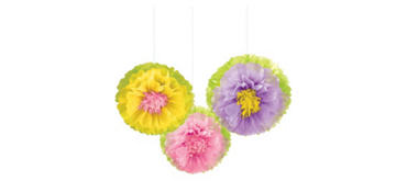 Spring Flower Fluffy Decorations 3ct