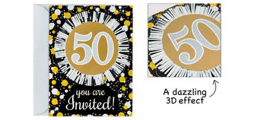 Premium Prismatic 50th Birthday Invitations 8ct - Sparkling Celebration
