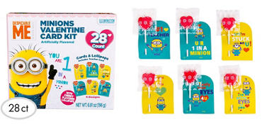Minions Valentine Exchange Cards with Lollipops 28ct - Despicable Me