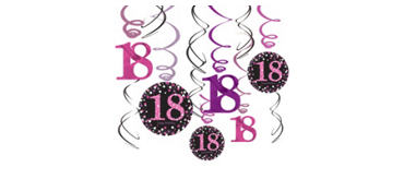 18th Birthday Swirl Decorations 12ct - Pink Sparkling Celebration