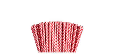Red Gingham Paper Straws 80ct
