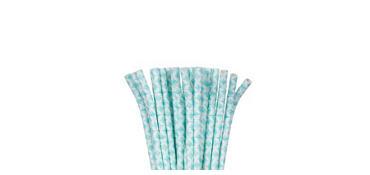 Robin's Egg Blue Diamond Paper Straws 24ct