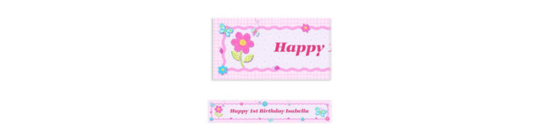 Custom Hugs & Stitches Girl Birthday Banner 6ft