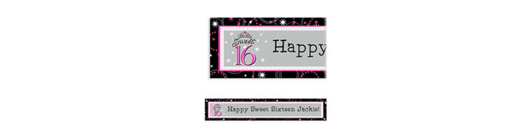 Custom Sparkle Sweet 16 Birthday Banner 6ft
