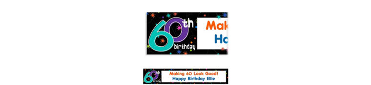 The Party Continues 60th Birthday Custom Banner 6ft