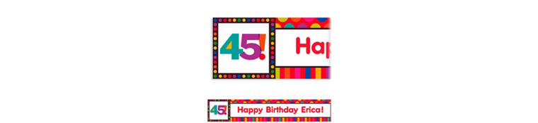 Birthday Dots & Stripes 45 Custom Banner 6ft