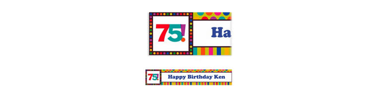Custom Birthday Dots & Stripes 75th Banner 6ft