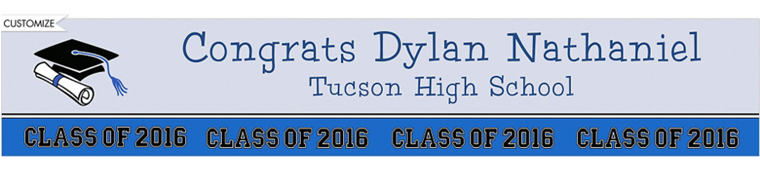 Custom Colorblock Class Stripe Graduation Banner 6ft
