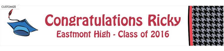 Handsome Grad Guy Custom Graduation Banner 6ft