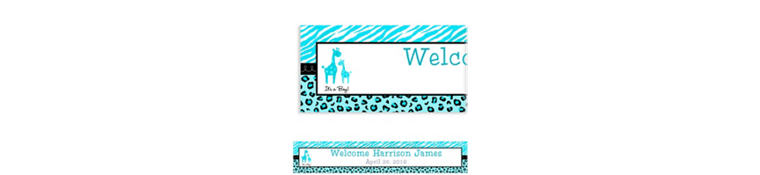 Custom Blue Safari Baby Shower Banner 6ft