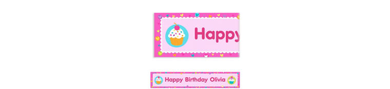 Cupcake Party Custom Banner