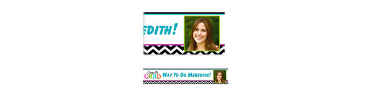 Custom Bright Congrats Grad Photo Banner 6ft