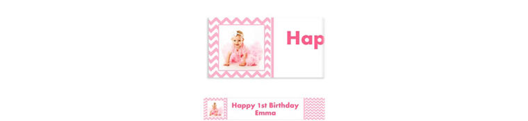 Custom Pink Chevron Photo Banner 6ft
