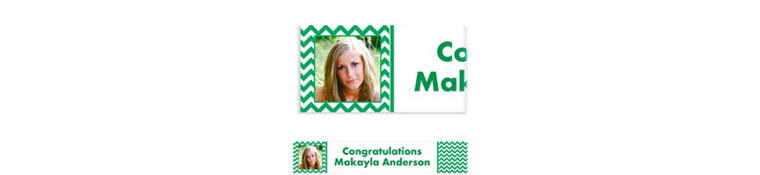 Custom Festive Green Chevron Photo Banner 6ft