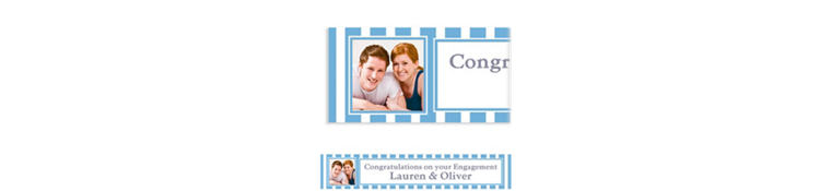 Custom Pastel Blue Stripe Photo Banner 6ft