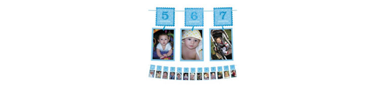 Blue Glitter 1st Birthday Photo Garland