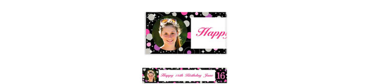 Custom Pink Sparkling Celebration 16 Photo Banner
