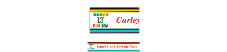 Custom Rainbow 13th Birthday Banner