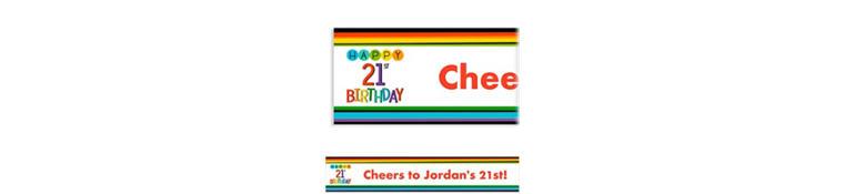 Custom Rainbow 21st Birthday Banner
