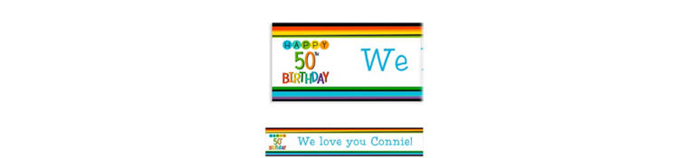 Custom Rainbow 50th Birthday Banner