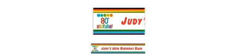 Custom Rainbow 80th Birthday Banner