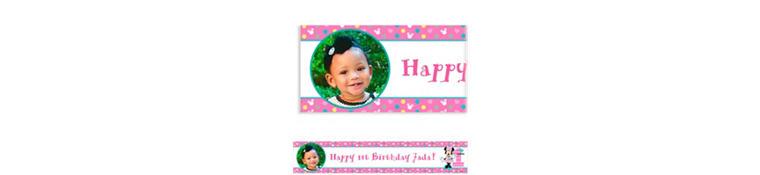 Custom Minnie's 1st Birthday Photo Banner