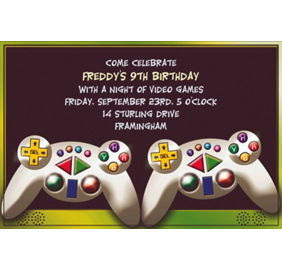 custom invitations banners - Video Game Party Invitations