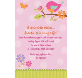 tweet baby girl baby shower invitations thank you notes party city