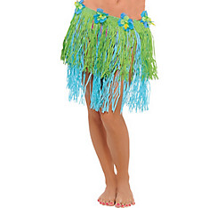 Adult Blue & Green Mini Hula Skirt