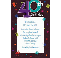 The Party Continues 40th Birthday Custom Invitation